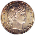 Proof Barber Quarters: , 1911 25C PR66 Cameo PCGS. This is rather unusual in that PCGS assigned a Cameo designation to a coin with such deep toning....