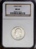 Washington Quarters: , 1932-D 25C MS62 NGC. Boldly struck with a coating of opaquesilver-beige toning over both sides, and a slight degree of spe...