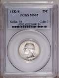 Washington Quarters: , 1932-S 25C MS62 PCGS. A smooth and satiny representative. Untonedaside from a hint of honey-rose along the upper obverse m...