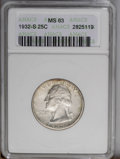 Washington Quarters: , 1932-S 25C MS63 ANACS. Only 408,000 pieces were struck of thispopular key date issue. Adequately struck and satiny, with a...