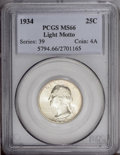 Washington Quarters: , 1934 25C Light Motto MS66 PCGS. Medium green-gold toning visitsthis suitably preserved and boldly impressed early Washingt...