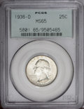 Washington Quarters: , 1936-D 25C MS65 PCGS. Light olive-gold visits the fields of thislustrous and reasonably preserved Gem. Well struck in the ...