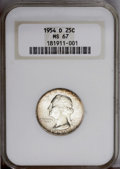 Washington Quarters: , 1954-D 25C MS67 NGC. The rich copper-russet toning that envelopsboth the obverse and reverse peripheries leaves little dou...