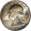 Washington Quarters: , 1957 25C MS68 NGC. A nearly flawless example of probable mint setorigin, being layered in dramatic orange and blue-green i...