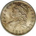 Bust Half Dollars: , 1814 50C MS64 PCGS. O-103, R.1. This pairing was struck from olddies, displaying a heavy die defect from the left wing to ...