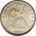 Seated Half Dollars: , 1842 50C Small Date, Large Letters MS63 PCGS. This well struckcream-gray example has subtle satin sheen and generally smoo...