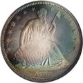 Proof Seated Half Dollars: , 1873 50C No Arrows PR66 NGC. Toned with vivid shades of turquoise, red-gold, and yellow in desirable layered rings on both ...