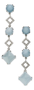 Estate Jewelry:Earrings, Chalcedony, Diamond, White Gold Earrings. ...
