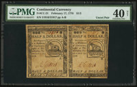 Continental Currency February 17, 1776 $1/2 Horizontal Pair PMG Extremely Fine 40 Net