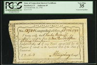 State of Connecticut Interest Certificate £2.15s.4d Feb. 23, 1792 PCGS Very Fine 35
