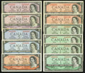 Canadian Currency: , A Large Assortment of 1954 Issues.. ... (Total: 11 notes)