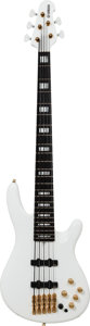Musical Instruments:Bass Guitars, 2004 Yamaha Model BBNE2 Nathan East White 5-String Electric Bass Guitar, Serial # QKN0461....