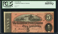 Confederate Notes:1864 Issues, Dark Red T69 $5 1864.. ...