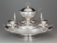 A Plateria Azteca Silver Lazy Susan for Hector Aguilar, Taxco, Mexico, 1949-1952 Marks: STERLING, (Eagl