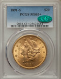 Liberty Double Eagles, 1891-S $20 MS63+ PCGS. CAC....