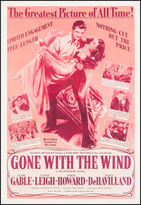 "Gone with the Wind (MGM, R-1950s). Poster (40.5"" X 59.75""). Academy Award Winners"