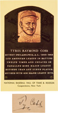 Baseball Collectibles:Others, Circa 1930 Ty Cobb Signed Cut Signature....