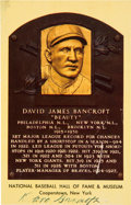 Baseball Collectibles:Others, Circa 1972 Dave Bancroft Signed Gold Hall of Fame Plaque. ...
