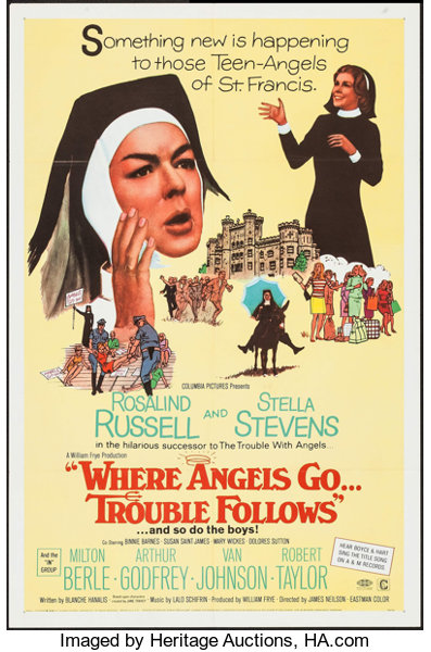 """Movie Posters:Comedy, Where Angels Go, Trouble Follows (Columbia, 1968). One Sheet (27"""" X 41""""), Lobby Card Set of 8 (11"""" X 14""""), and Pressbook (8 ... (Total: 10 Items)"""