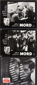 """Movie Posters:Hitchcock, Psycho & Other (UIP, R-1980s). Swiss Lobby Card (8.5"""" X 11.25"""") and German Lobby Cards (2) (9"""" X 11.75""""). Hitchcock.. ... (Total: 3 Items)"""