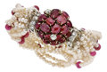 Estate Jewelry:Bracelets, Ruby, Diamond, Freshwater Cultured Pearl Bracelet, Seaman Schepps....