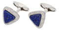 Estate Jewelry:Cufflinks, Lapis Lazuli, Diamond, White Gold Cuff Links, Eli Frei. ...