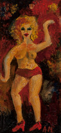 Fine Art - Painting, American:Contemporary   (1950 to present)  , Alfred Gwynne Morang (American, 1901-1958). Dancing Nude.Oil on board. 8-1/2 x 4 inches (21.6 x 10.2 cm). Initialed low...