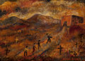 Paintings, Alfred Gwynne Morang (American, 1901-1958). Pentinente Procession. Oil on board. 10 x 14 inches (25.4 x 35.6 cm). Signed...