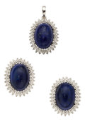Estate Jewelry:Suites, Lapis Lazuli, Diamond, White Gold Jewelry Suite. ... (Total: 3Items)
