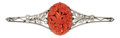Estate Jewelry:Brooches - Pins, Art Deco Coral, Diamond, Platinum, White Gold Brooch. ...