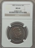 Coins of Hawaii , 1883 50C Hawaii Half Dollar MS64 NGC....