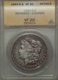 Morgan Dollars, 1893-S $1 -- Repaired, Cleaned -- ANACS. VF20 Details....