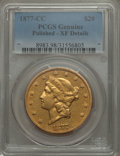 Liberty Double Eagles, 1877-CC $20 -- Polished -- PCGS Genuine. XF Details. Variety 3-A....
