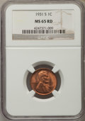 1931-S 1C MS65 Red NGC. NGC Census: (240/25). PCGS Population (787/100). Mintage: 866,000. Numismedia Wsl. Price for pro...