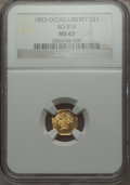 California Fractional Gold , 1853 $1 Liberty Octagonal Dollar, BG-514, High R.5, MS63 NGC....