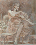 Pin-up and Glamour Art, Attributed to Edwin Georgi (American, 1896-1964). Pinup in aCrinoline. Mixed media on board. 22.5 x 18 in.. Not signed...
