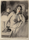 "Mainstream Illustration, James Montgomery Flagg (American, 1877-1960). ""No, Madam, Youhave the wrong number. This is the Museum of Natural History..."