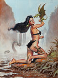 Pulp, Pulp-like, Digests, and Paperback Art, Mark Rogers (20th Century). In Prehistoric Times, Hair Care wasEntirely Organic, 1989. Mixed media on board. 23.5 x 17....