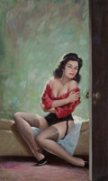 Pulp, Pulp-like, Digests, and Paperback Art, Ed Moritz (American, 20th Century). Sultry Siren, paperbackcover. Oil on board. 15.5 x 9.5 in. (sight). Signed lower le...
