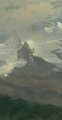 Albert Bierstadt (American, 1830-1902) Cloud Study with Mountain Peaks Oil on paper laid on panel 12-1/2 x 6-3/4 inch