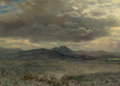 Works on Paper, Albert Bierstadt (American, 1830-1902). Cloud Study in San Francisco, 1873. Oil on paper laid on board. 14 x 19 inches (...