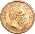 German States:Saxony, German States: Saxony. Albert gold 5 Mark 1877-E MS66 PCGS,...