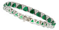 Estate Jewelry:Bracelets, Tsavorite Garnet, Diamond, White Gold Bracelet. ...