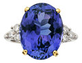Estate Jewelry:Rings, Tanzanite, Diamond, Platinum, Gold Ring. ...
