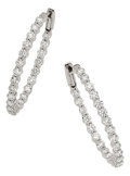Estate Jewelry:Earrings, Diamond, White Gold Earrings. ...