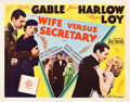 "Movie Posters:Comedy, Wife vs. Secretary (MGM, 1936). Half Sheet (22"" X 28"") Style B....."