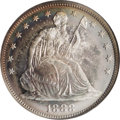 Proof Seated Half Dollars: , 1888 50C PR67 NGC. A gorgeous coin that boasts rich rose-gold, teal, and yellow toning in organized rings on the obverse an...