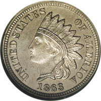 1863 1C One Cent, Judd-300, Pollock-360-362, Low R.7, PR65 ANACS. Struck from regular issue obverse and reverse dies in...