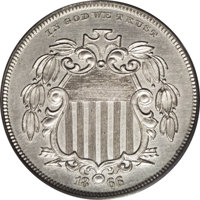 1866 5C Shield Five Cents, Judd-497, Pollock-583, High R.7, PR64 PCGS. Similar to the as issued 1866 Shield nickel, but...