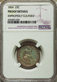 1864 25C -- Improperly Cleaned -- NGC Details. Proof. NGC Census: (1/160). PCGS Population (4/158). Mintage: 470. Numism...